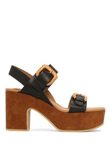 See By Chloe Kalın Topuklu %100 Deri Sandalet Siyah